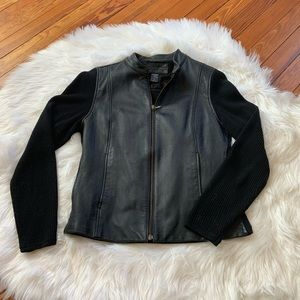 Jaclyn Smith faux leather sweater jacket medium